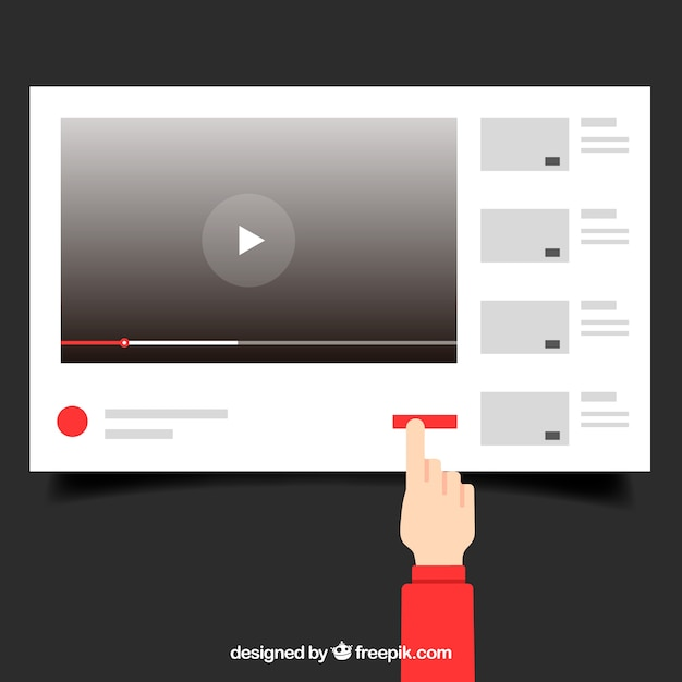 Youtube player com design plano Vetor grátis
