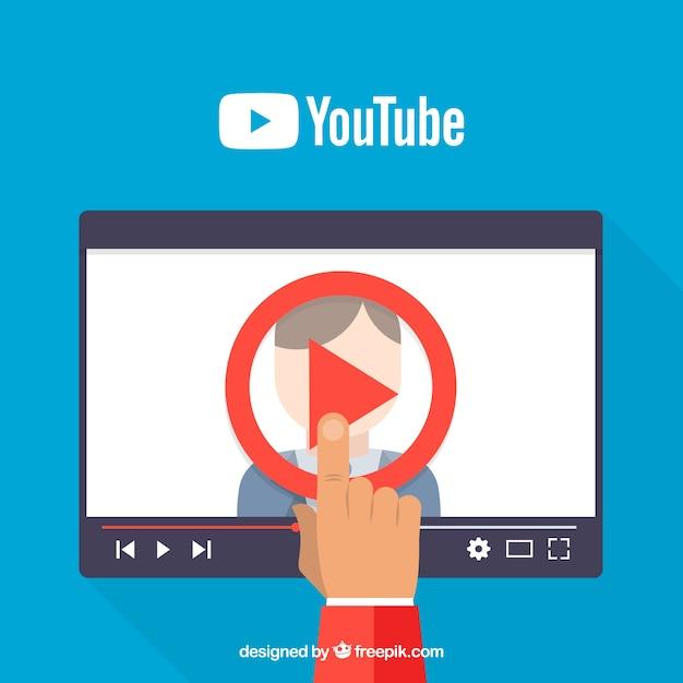 Youtube player no dispositivo com design plano Vetor Premium