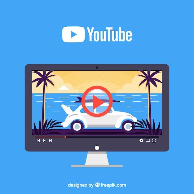 Youtube player no dispositivo com design plano Vetor grátis