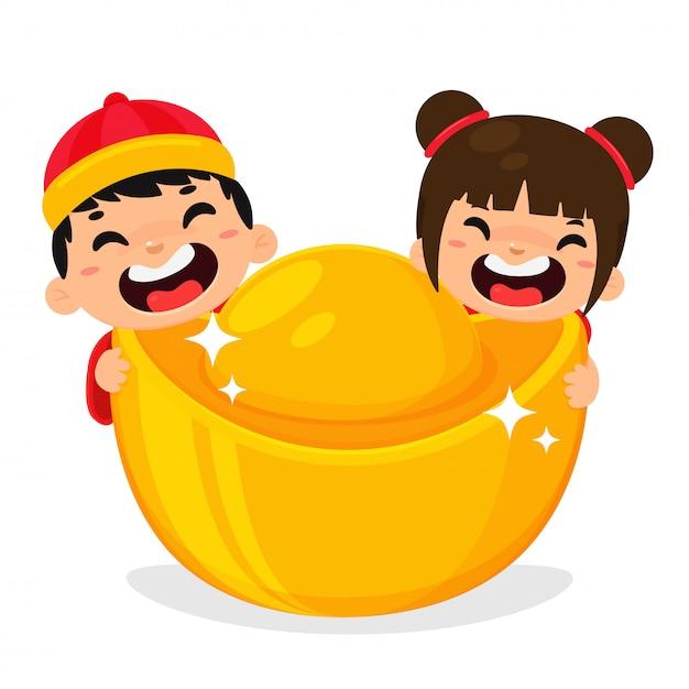 Yuan bao dourado moeda da china símbolo da riqueza financeira para decorar durante o ano novo chinês. Vetor Premium