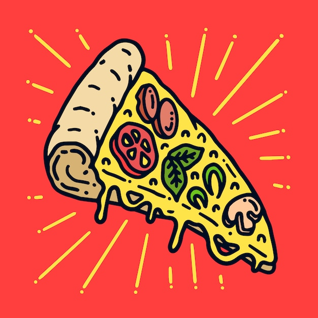 Yummy pizza old school tattoo ilustração Vetor Premium