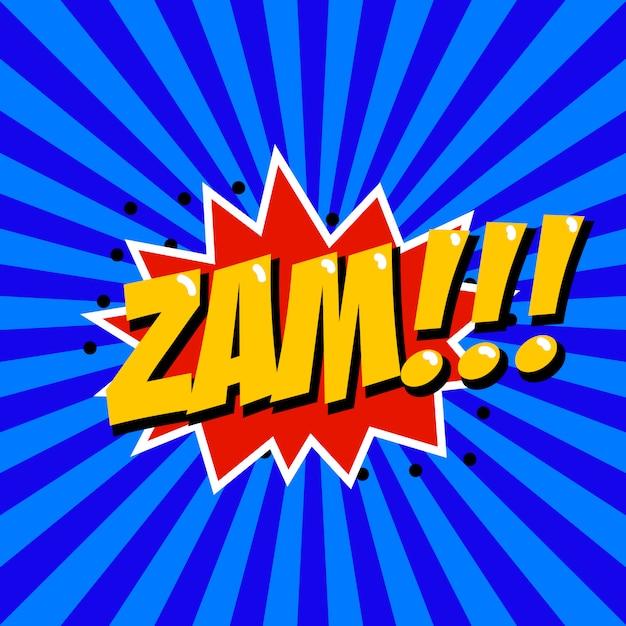 Zam! frase de estilo cômico sobre fundo sunburst. elemento para cartaz, camiseta. Vetor Premium