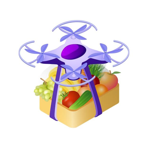 Zangão, entregar, compra, isometric, ilustração Vetor Premium