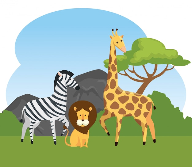 Zebra com animais selvagens de leão e girafa Vetor grátis