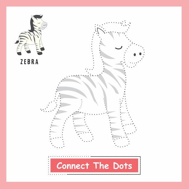 Zebra connect the dots Vetor Premium