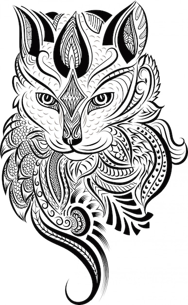 Zentangle de cabeça de gato estilizado doodle Vetor Premium