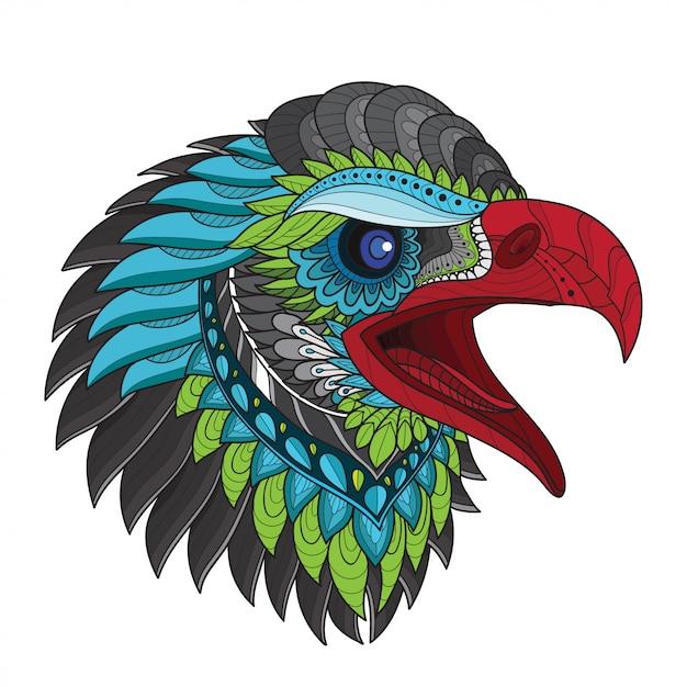 Zentangle estilizado ilustrações de cabeça-vetor de águia Vetor Premium