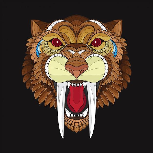 Zentangle estilizado sabre cabeça de tigre de dentes Vetor Premium