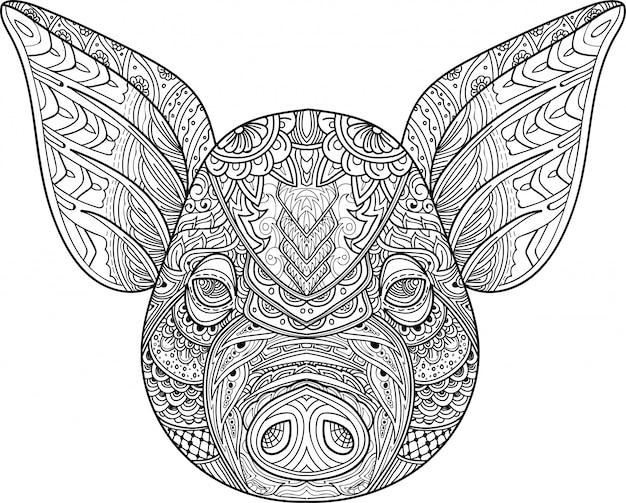 Zentangle estilizado vector doodle de cabeça de porco Vetor Premium