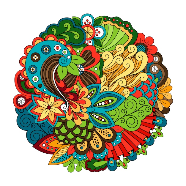 Zentangle floral de doodle étnica como padrão de círculo Vetor Premium
