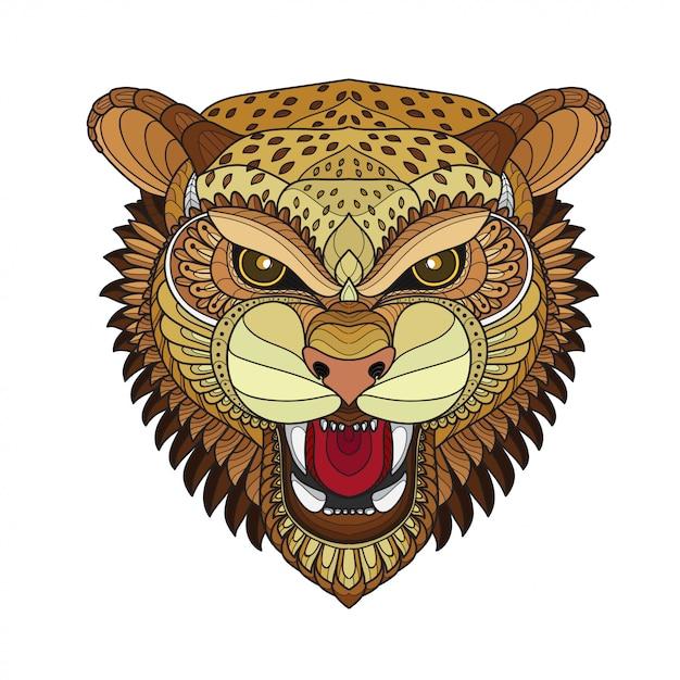 Zentangle ilustrações de cabeça-vetor de tigre estilizado Vetor Premium
