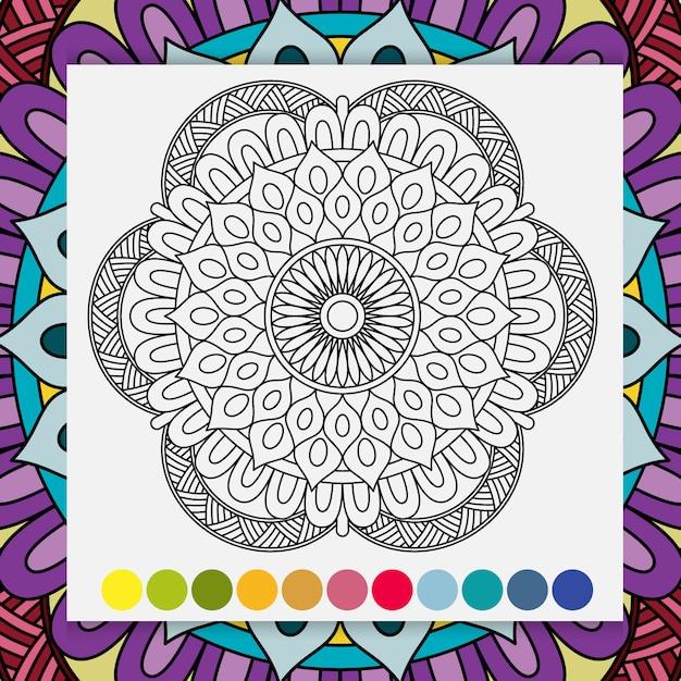 Zentangle mandala para adultos relaxando livro para colorir. Vetor Premium