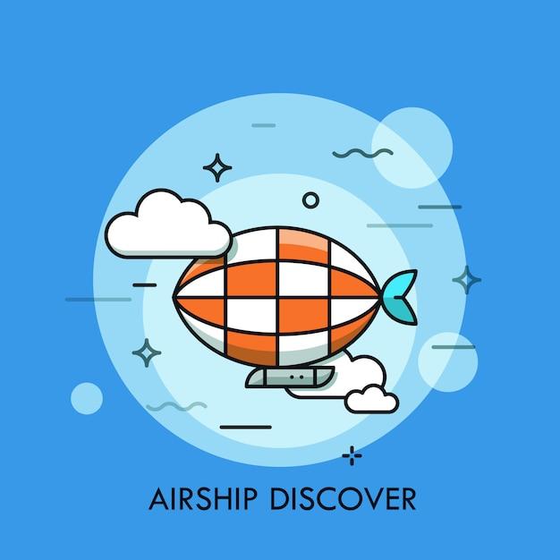 Zepelim voando ilustração de linha fina Vetor Premium