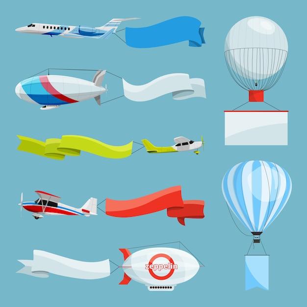 Zepelins e aviões com banners vazios para mensagens publicitárias. avião de ilustrações de vetor e zepelim com publicidade com lugar para o seu texto Vetor Premium