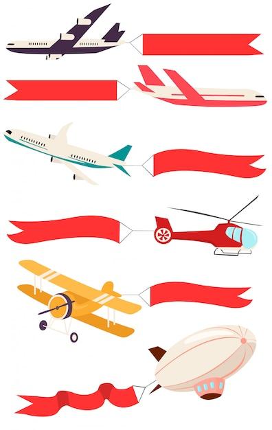 Zepelins e aviões com banners vazios para mensagens publicitárias. Vetor Premium