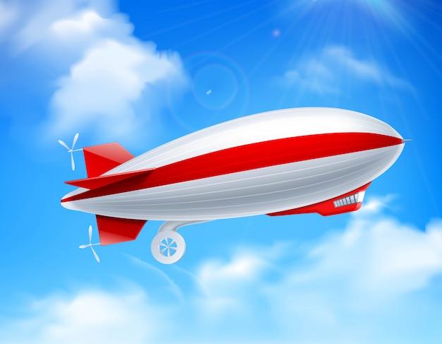 Zeppelin on sky composition Vetor grátis