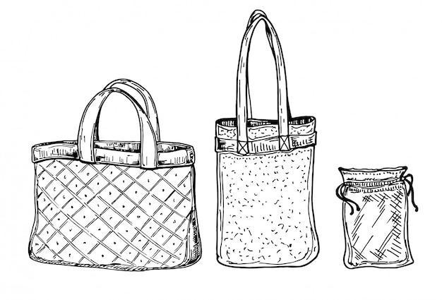 Zero desperdício de compras. estilo de vida ecológico e conjunto de sacos de pano e malha ecológicos. doodle ícones lineares. mão desenhada bonito desenho ilustração Vetor Premium