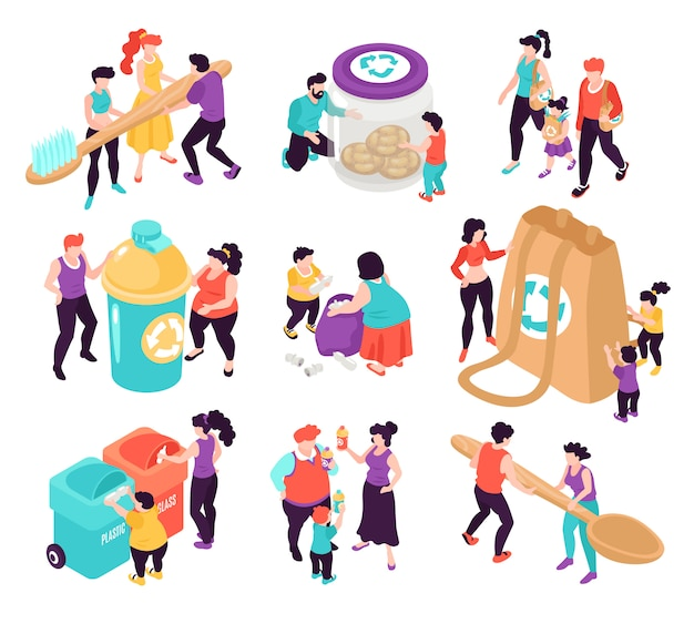 Zero resíduos isométricos ícones coloridos conjunto com pessoas classificação lixo isolado na ilustração 3d fundo branco Vetor grátis