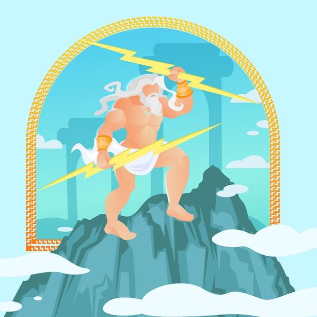 Zeus, júpiter, jove da mitologia grega clássica Vetor Premium