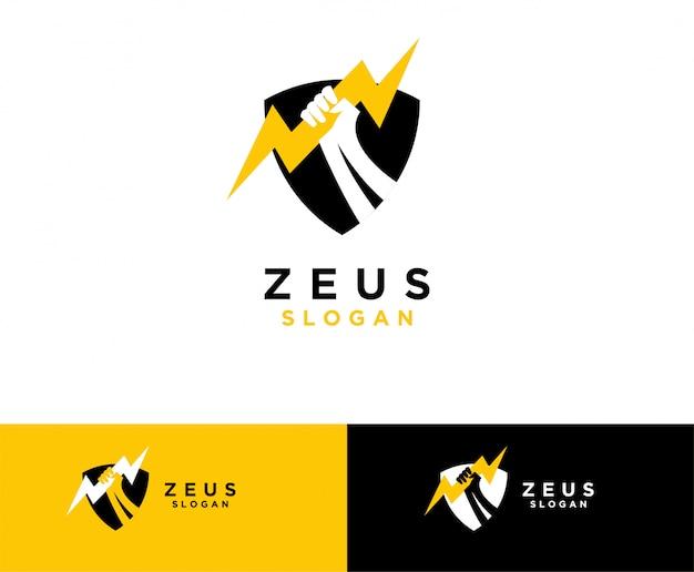 Zeus mão símbolo design de logotipo Vetor Premium