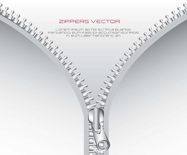 Zíper metálico com espaço para ilustração vetorial de cópia Vetor Premium