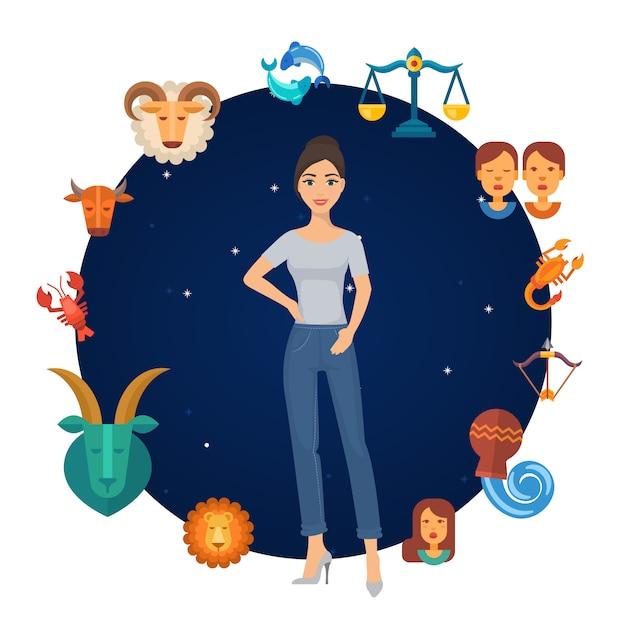 Zodíaco assina círculo astrológico com garota no centro. rodada zodiacal. calendário do horóscopo astrológico. Vetor Premium