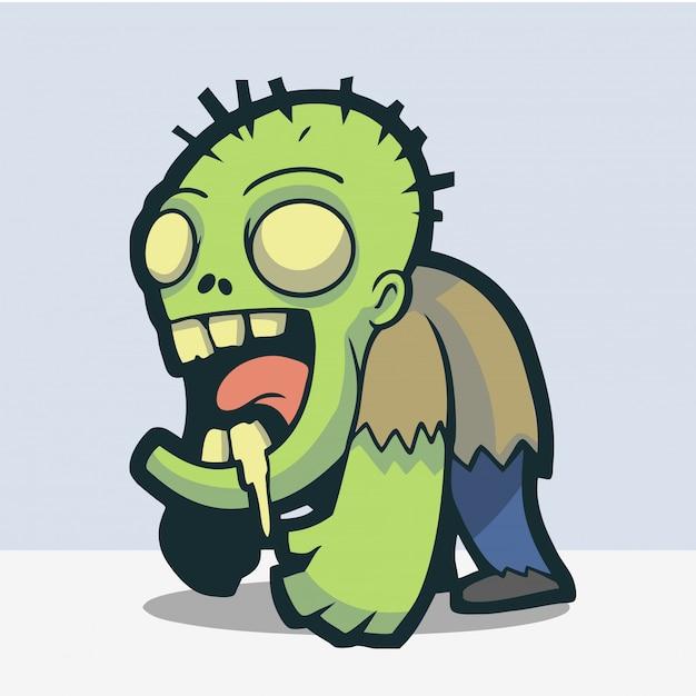 Zombie adorável e bonito Vetor Premium
