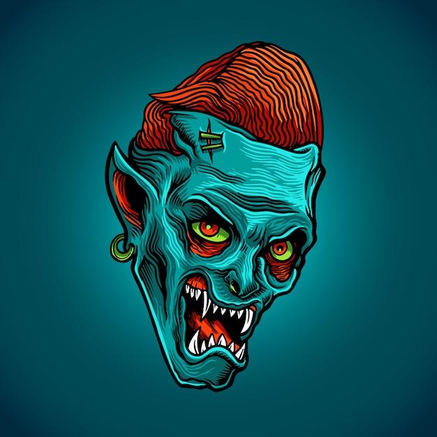 Zombie blue Vetor Premium