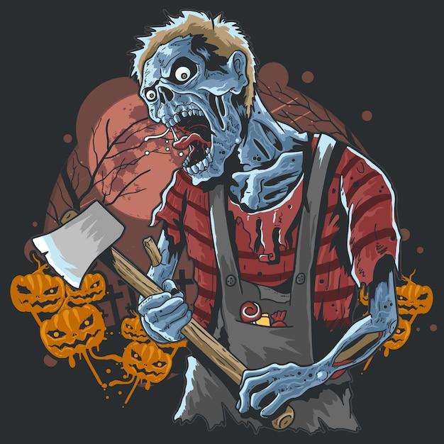 Zombie com machado na arte finala da partidura da noite de halloween Vetor Premium