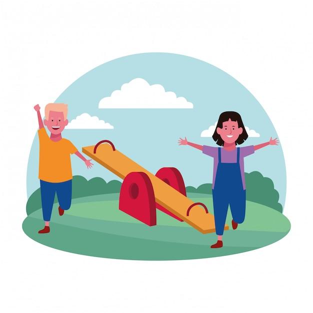 Zona de crianças, alegre menino e menina com parque de gangorra Vetor Premium