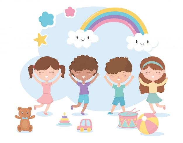 Zona de crianças, bonitos meninos e meninas com brinquedos de tambor de bola de carro de urso Vetor Premium