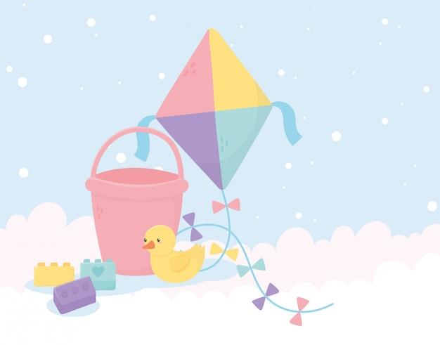Zona de crianças, brinquedos pipa balde pato e blocos de fundo Vetor Premium