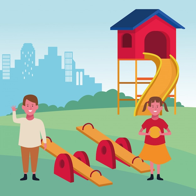 Zona de crianças, feliz menino e menina com gangorra de bola e playground de slides Vetor Premium