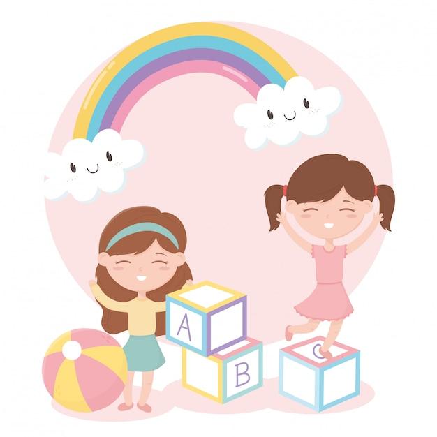 Zona de crianças, menina bonitinha brincando com brinquedos de bola de blocos de alfabeto Vetor Premium