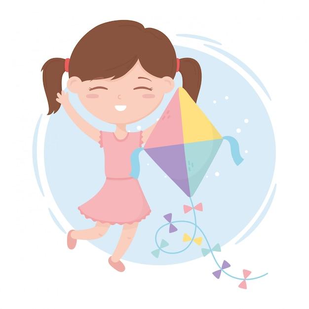 Zona de crianças, menina bonitinha brincando com seus brinquedos de pipa Vetor Premium