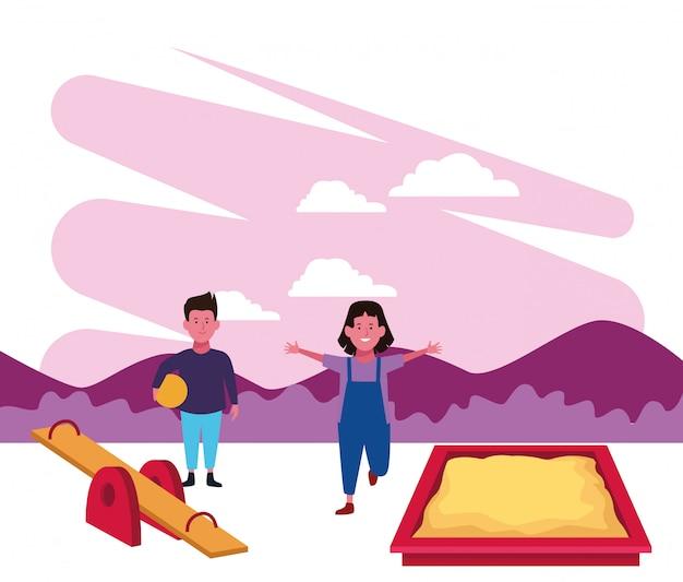 Zona de crianças, menino e menina jogando gangorra sanbox e playground de bola Vetor Premium