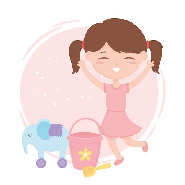 Zona de crianças, pá de balde menina bonitinha e elefante com brinquedos de rodas Vetor Premium