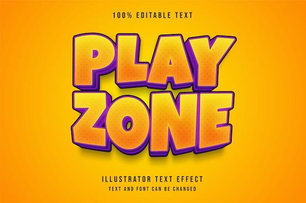 Zona de jogo, efeito de texto editável em 3d com gradação amarela e roxo estilo de texto em quadrinhos Vetor Premium