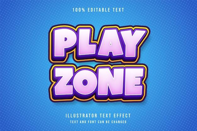 Zona de jogo, efeito de texto editável em 3d gradação de rosa amarelo roxo sombra estilo de texto Vetor Premium
