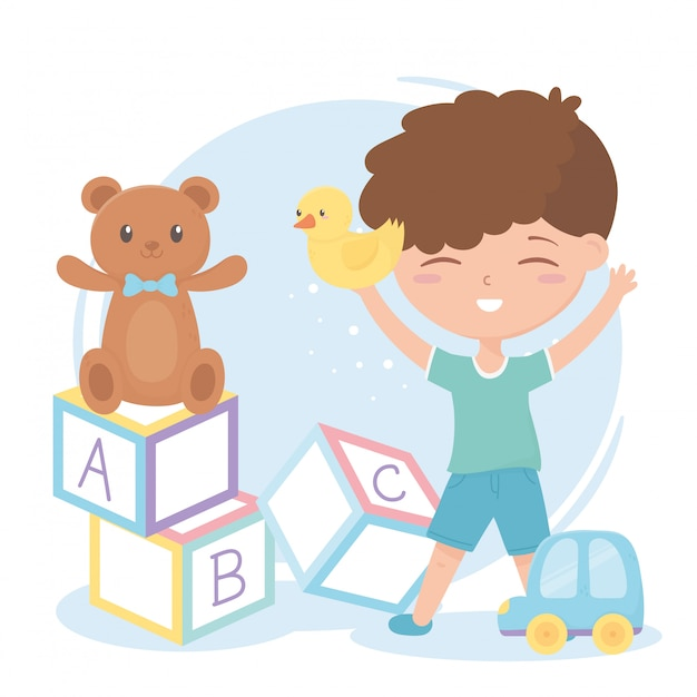 Zona infantil, alfabeto bonitinho menino blocos ursinho de pelúcia e brinquedos para carros Vetor Premium