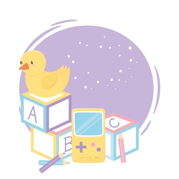 Zona infantil, blocos de alfabeto, pato, videogame e brinquedos Vetor Premium