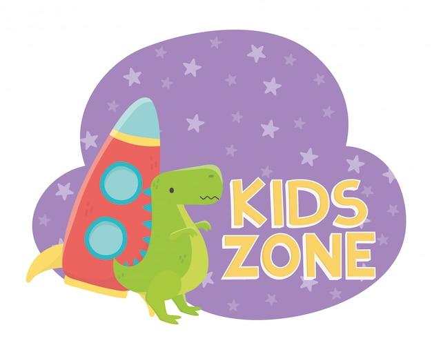Zona infantil, foguete de plástico e brinquedos de dinossauro verde Vetor Premium