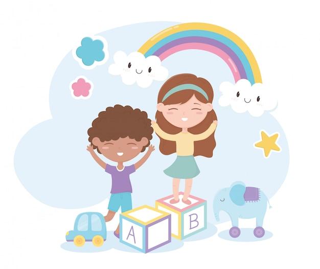 Zona infantil, menino bonitinho e menina bloqueiam brinquedos de elefante de carro Vetor Premium