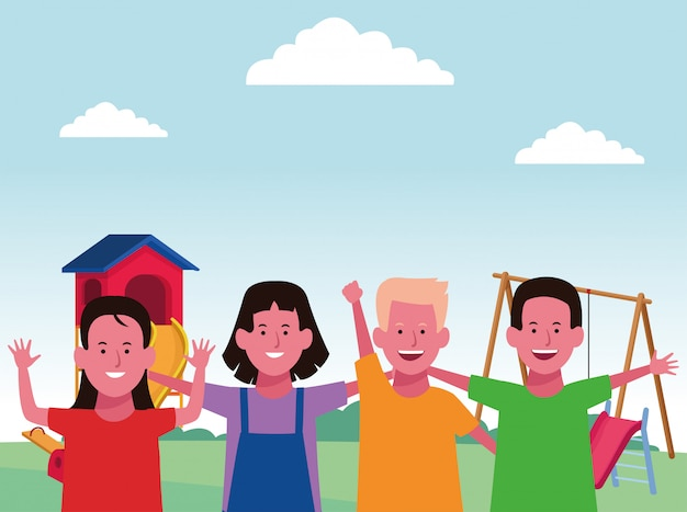 Zona infantil, meninos e meninas felizes com escorregador e gangorra Vetor Premium