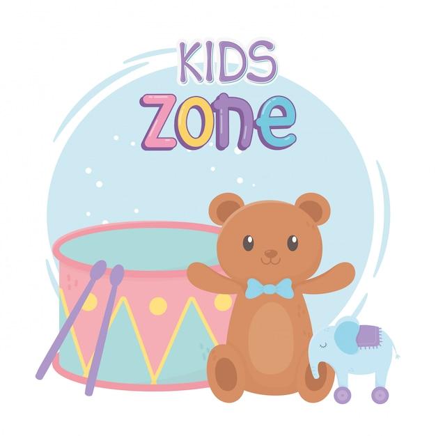 Zona infantil, ursinho de pelúcia elefante e brinquedos Vetor Premium