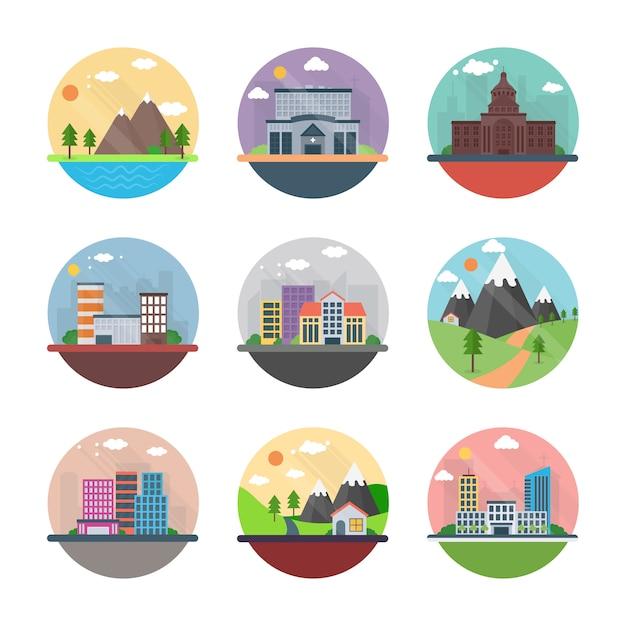 Zona rural e paisagem urbana ícones plana Vetor Premium