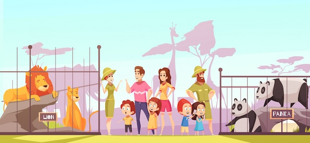 Zoo family visit cartoon Vetor grátis