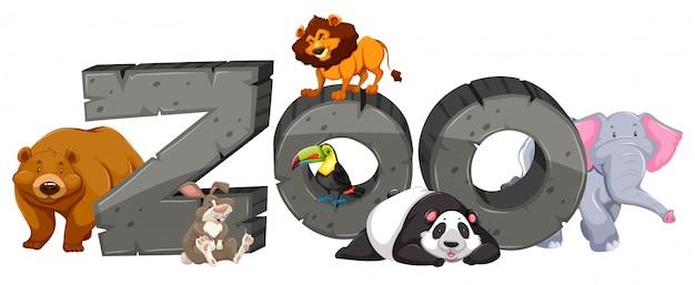 Zoo sinal e muitos animais Vetor grátis