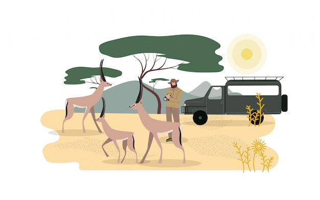 Zoólogo explorando a fauna africana Vetor Premium