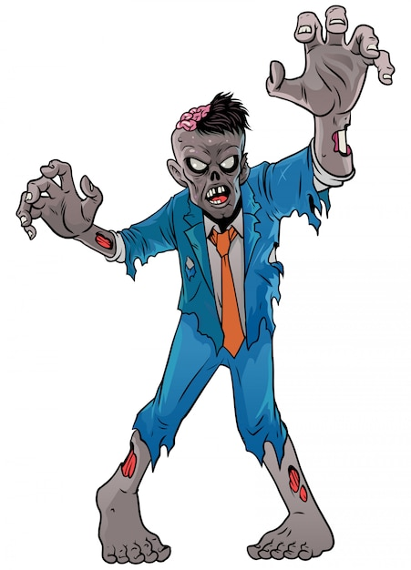 Zumbi dos desenhos animados do dia das bruxas Vetor Premium
